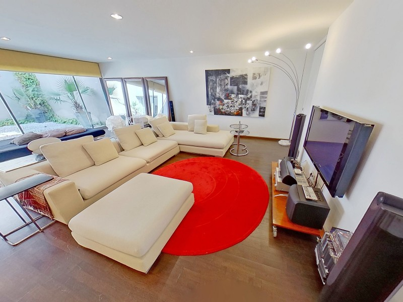 Sitting area, TV, home cinema, office on ground floor. Double sofa bed
